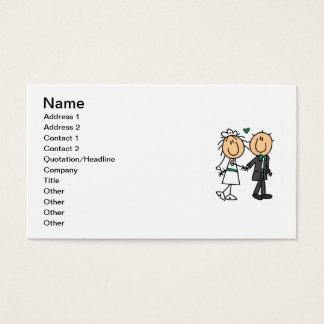 Strichmännchen-Braut und Bräutigam-T - Shirts und Visitenkarten