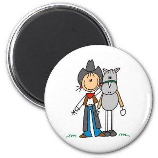 Strichmännchen-Cowgirl mit Pferdemagneten Runder Magnet 5,7 Cm