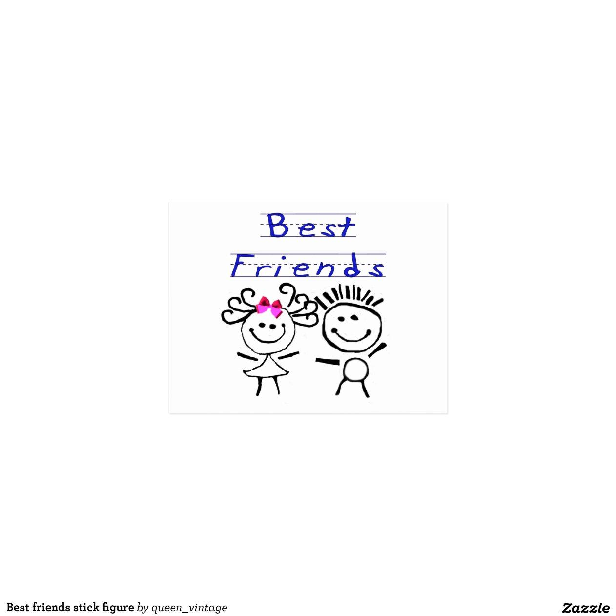 Strichm nnchen der besten freunde postkarten zazzle - Weihnachtsgeschenke fa r besten freund ...