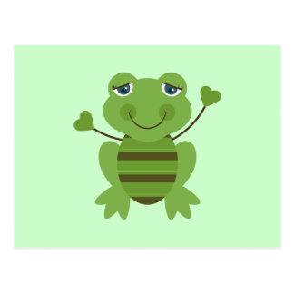 Strichmännchen-Frosch Postkarte