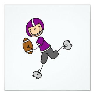 Strichmännchen-Fußball lila Quadratische 13,3 Cm Einladungskarte