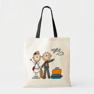 Strichmännchen-Hochzeits-Flitterwochen-T-Shirts un Budget Stoffbeutel