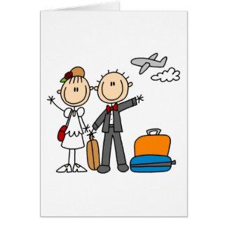 Strichmännchen-Hochzeits-Flitterwochen-T-Shirts un Grußkarte