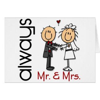 Strichmännchen-Hochzeits-Paar-Herr u. Frau Always Grußkarte