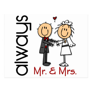 Strichmännchen-Hochzeits-Paar-Herr u. Frau Always Postkarte