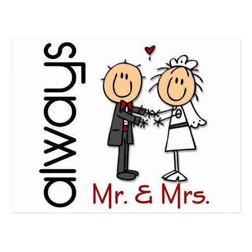 Strichmännchen-Hochzeits-Paar-Herr u. Frau Always Postkarten