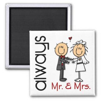 Strichmännchen-Hochzeits-Paar-Herr u. Frau Always Quadratischer Magnet