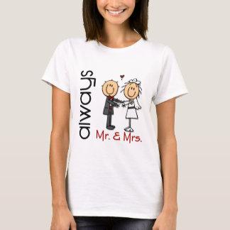 Strichmännchen-Hochzeits-Paar-Herr u. Frau Always T-Shirt