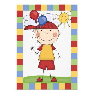 Strichmännchen-Junge mit Ballon-Geburtstag laden Personalisierte Einladungen