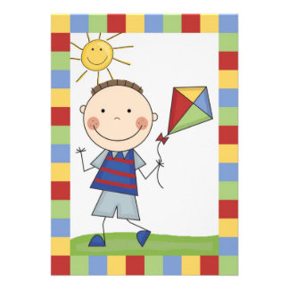 Strichmännchen-Junge mit Drachen-Geburtstag laden Personalisierte Einladungskarte
