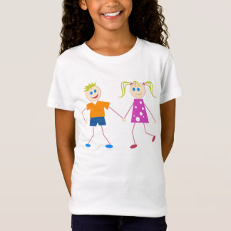 Strichmännchen-Junge u. Mädchen T-Shirt