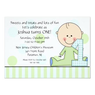 Strichmännchen-Jungen-1. Geburtstags-Einladung