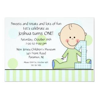 Strichmännchen-Jungen-1. Geburtstags-Einladung 12,7 X 17,8 Cm Einladungskarte
