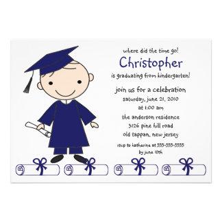 Strichmännchen-Jungen-Abschluss-Einladung