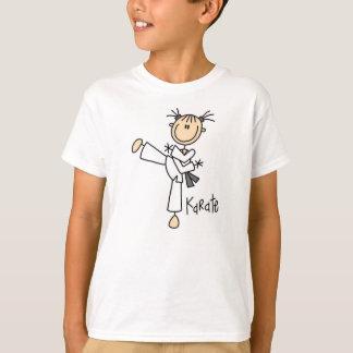 Strichmännchen-Karate-Mädchen-T - Shirt