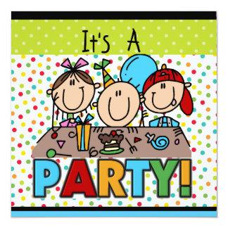 Strichmännchen-Kindergeburtstag-Party Einladungen