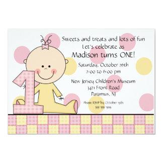 Strichmännchen-Mädchen-1. Geburtstags-Einladung 12,7 X 17,8 Cm Einladungskarte