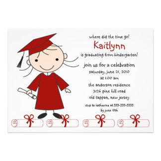 Strichmännchen-Mädchen-Abschluss-Einladung