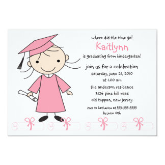 Strichmännchen-Mädchen-Abschluss-Einladung 12,7 X 17,8 Cm Einladungskarte