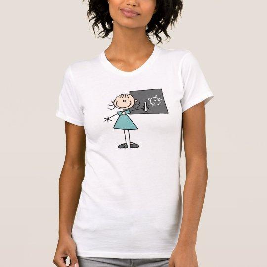 Strichmännchen-Mädchen am Kreide-Brett-T - Shirt