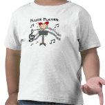 Strichmännchen-Mädchen-Flöten-Spieler-T-Shirts und