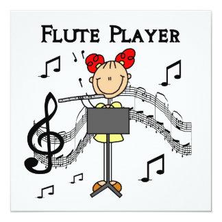 Strichmännchen-Mädchen-Flöten-Spieler-T-Shirts und Personalisierte Einladungen