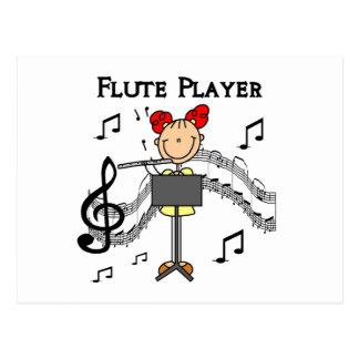Strichmännchen-Mädchen-Flöten-Spieler-T-Shirts und Postkarte