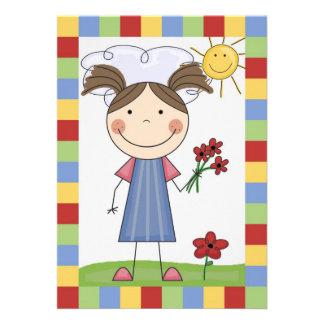 Strichmännchen-Mädchen mit Blumen-Geburtstag laden Ankündigung