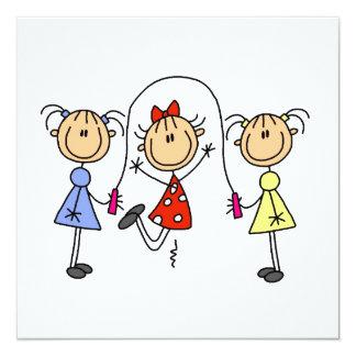 Strichmännchen-Mädchen-springendes Seil Individuelle Ankündigung