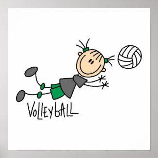 Strichmännchen-Mädchen-Volleyball-T-Shirts und Ges Poster