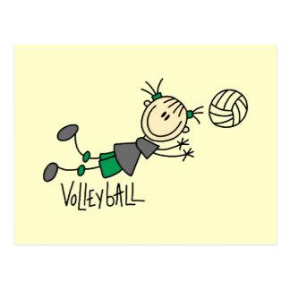 Strichmännchen-Mädchen-Volleyball-T - Shirts und Postkarte