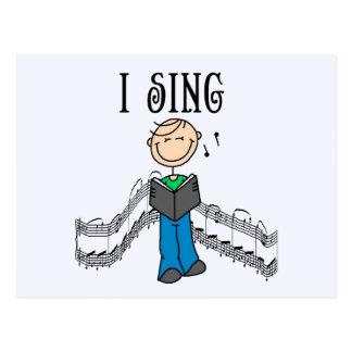 Strichmännchen-Mann singe ich T - Shirts und Postkarte