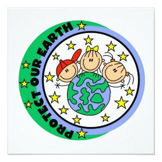 Strichmännchen schützen unsere ErdT - Shirts und Quadratische 13,3 Cm Einladungskarte