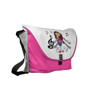 Strichmännchen-Violinen-Spieler-Tasche Kuriertasche