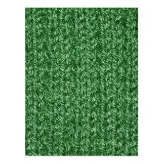 Strickende Beschaffenheit des Grün-Farbigen Garns Postkarte