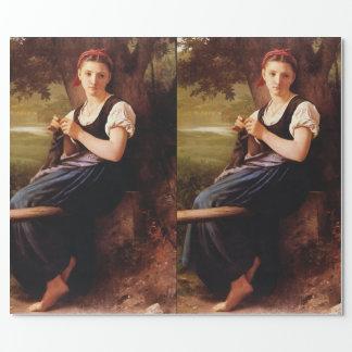 Strickende Frau durch William-Adolphe Bouguereau Geschenkpapier