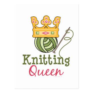 Strickende Königin-Postkarte Postkarte