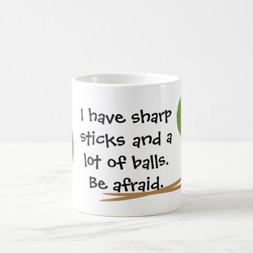Strickende lustige Tasse