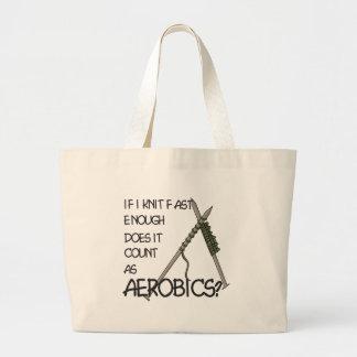 Strickender Aerobics Jumbo Stoffbeutel