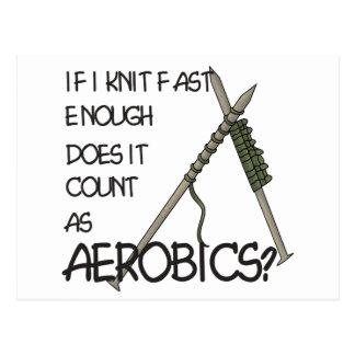 Strickender Aerobics Postkarte