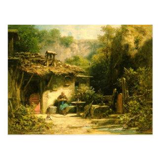 Strickender Einsiedler - Spitzweg Postkarte