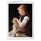 Strickendes Mädchen strickendes Mädchen Karte