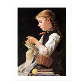 Strickendes Mädchen strickendes Mädchen Postkarte