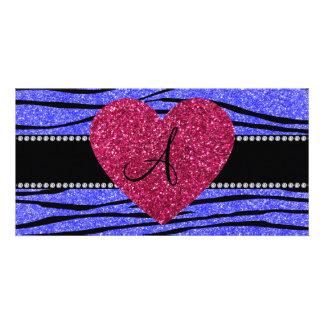 Stripes blauer Neonzebra Glitter des Monogramms Photo Grußkarte