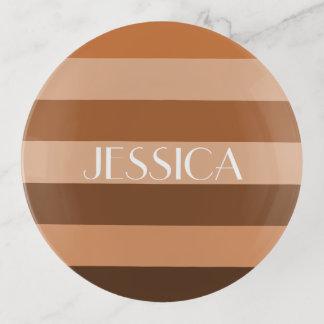 Stripes einfarbiger Farbblock Browns Muster-Namen Dekoschale
