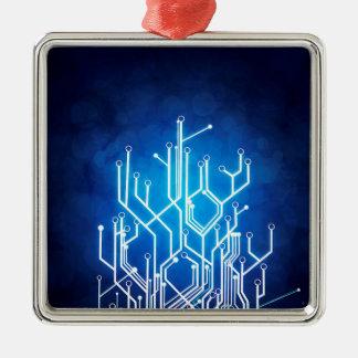 Stromkreis-Bretttechnologie Quadratisches Silberfarbenes Ornament