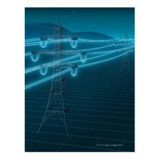Strommast mit glühenden Powerlinien 2 Postkarte