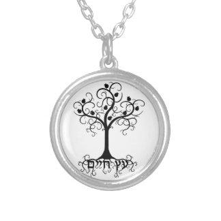 Strudel-Baum des Lebens mit Granatapfel Etz Chayim Versilberte Kette