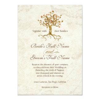 Strudel-Baum-Wurzeln Antiqued Pergament-Hochzeit 12,7 X 17,8 Cm Einladungskarte