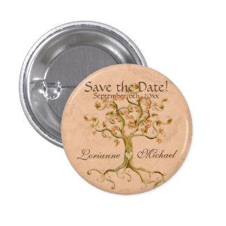 Strudel-Baum-Wurzeln Antiqued Pergament Save the D Runder Button 2,5 Cm